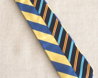 Vintage Silk Tie, Stripes, Mens J Crew, Hand Embroidered, Blue, Yellow, Upcycled, Preppy