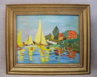 Vintage Sail Boat Painting, Nautical Decor, Framed Original Fine Art