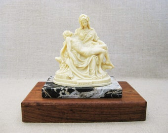 Vintage Pieta Carved Stone Statue, Religious Figurine