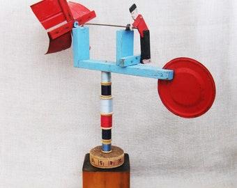 Vintage Folk Art Whirlygig, Sculpture, Primitive, Red White Blue, Assemblage, Americana, Windmill