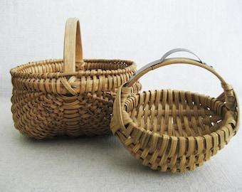 Vintage Primitive Basket, Split Oak Buttocks, Cape Cod Gathering, Rustic Cabin Decor