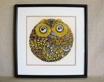 Vintage Owl Print, Lithograph, Bird Art, Signed Mikec, Framed Original Fine Art