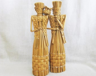 Vintage Human Figures Sculptures, Folk Art Woven Basket Style, Pair, 17 inch Tall, Female Portrait