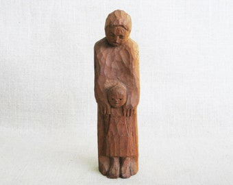 Vintage Folk Art Carving, Female Portrait, Mother and Daughter, Rustic Cabin Decor