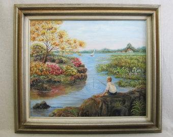 Vintage Male Portrait Landscape Painting, Framed Original Fine Art, Signed Victoria Beihar