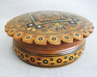 Vintage Round Wooden Box, Folk Art Style, Storage and Organization