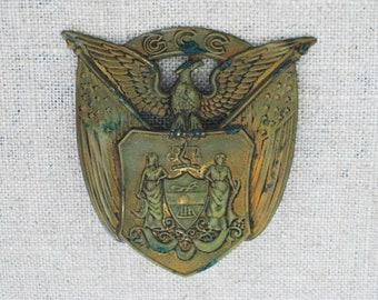 Vintage Eagle Shield Military Pin, Hat Embellishment, US Military