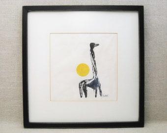 Vintage Giraffe Ink Monotype Fine Art Print, Framed Original Fine Art