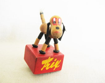 Vintage Wooden Dog Toy, Trix the Dog, String Puppet, Push Button Pop Up, SWEDISH TOY Co