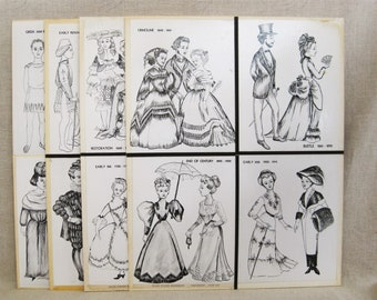Vintage Fashion History Story Board, Group of 4 Panels, Wall Decor