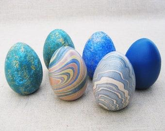 Vintage Decorative Wood Eggs, Set of 6, Collection, Duck, Easter Basket Filler, Art and Craft Supplies