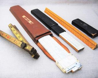 Vintage Ruler Collection, Slide Rule, Architect, Folding Measure