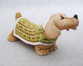 Vintage Artesania Reconada Dog in Sweater Ceramic Sculpture