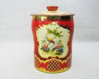 Vintage Candy Tin, Decorative Horner Metal Box, Round Canister, Storage, Organization