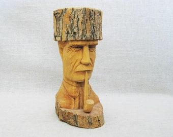 Vintage Folk Art Portrait Carving, Wooden Male Figure, Hand Carved Bust