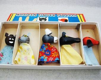 Vintage Finger Puppets, Tofa, Original Box, Czechoslovakia, Mid-Century Toys