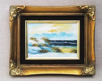 Vintage Beach Landscape Painting, Framed Original Fine Art