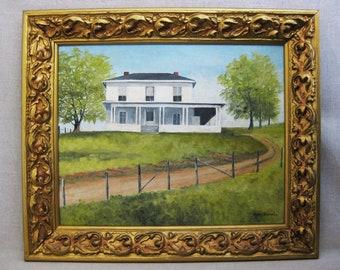 Vintage Landscape Painting, House, Framed Original Fine Art