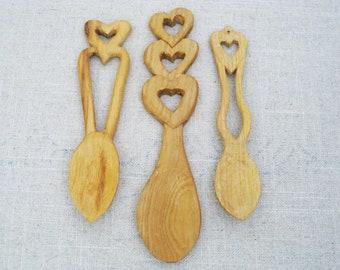 Vintage Wooden Spoon, Folk Art Loving Spoon, Hand Carved Spoon, Heart Design