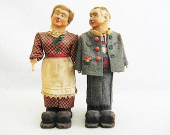 Vintage Folk Art Bottles, Male and Female Portrait Sculpture Bottles