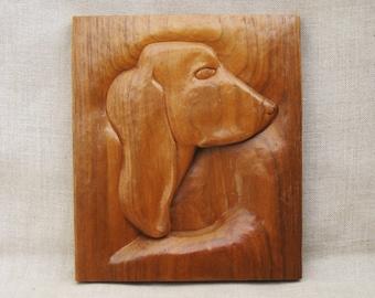 Vintage Dog Plaque, Folk Art Carvings, Animal Pet Portrait, Man Best Friend, Rustic Cabin Wall Decor