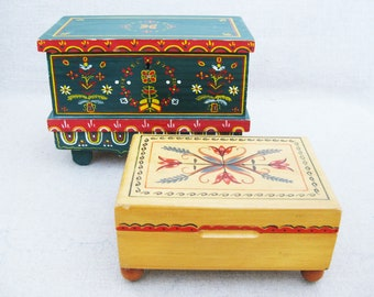 Vintage Boxes, Doll Trunk, Pennsylvania Dutch Style Chest, Hand Painted