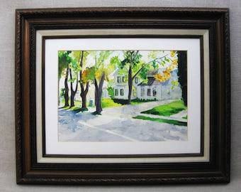 Vintage Landscape, House Painting, Architectural Art, Framed Original Fine Art