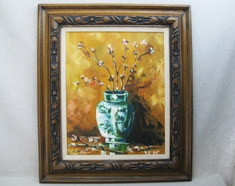 Vintage Flower Art, Floral Still Life Painting, Framed Original Fine Art, Mid-Century