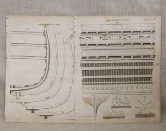 Antique Book Plate Engravings, Ship Building Mechanical Illustration, Navy, Nautical Vintage Ephemera