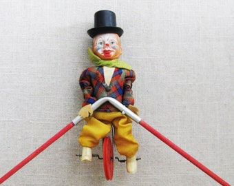 Vintage Clown Toys, Balancing Moving West German Toy
