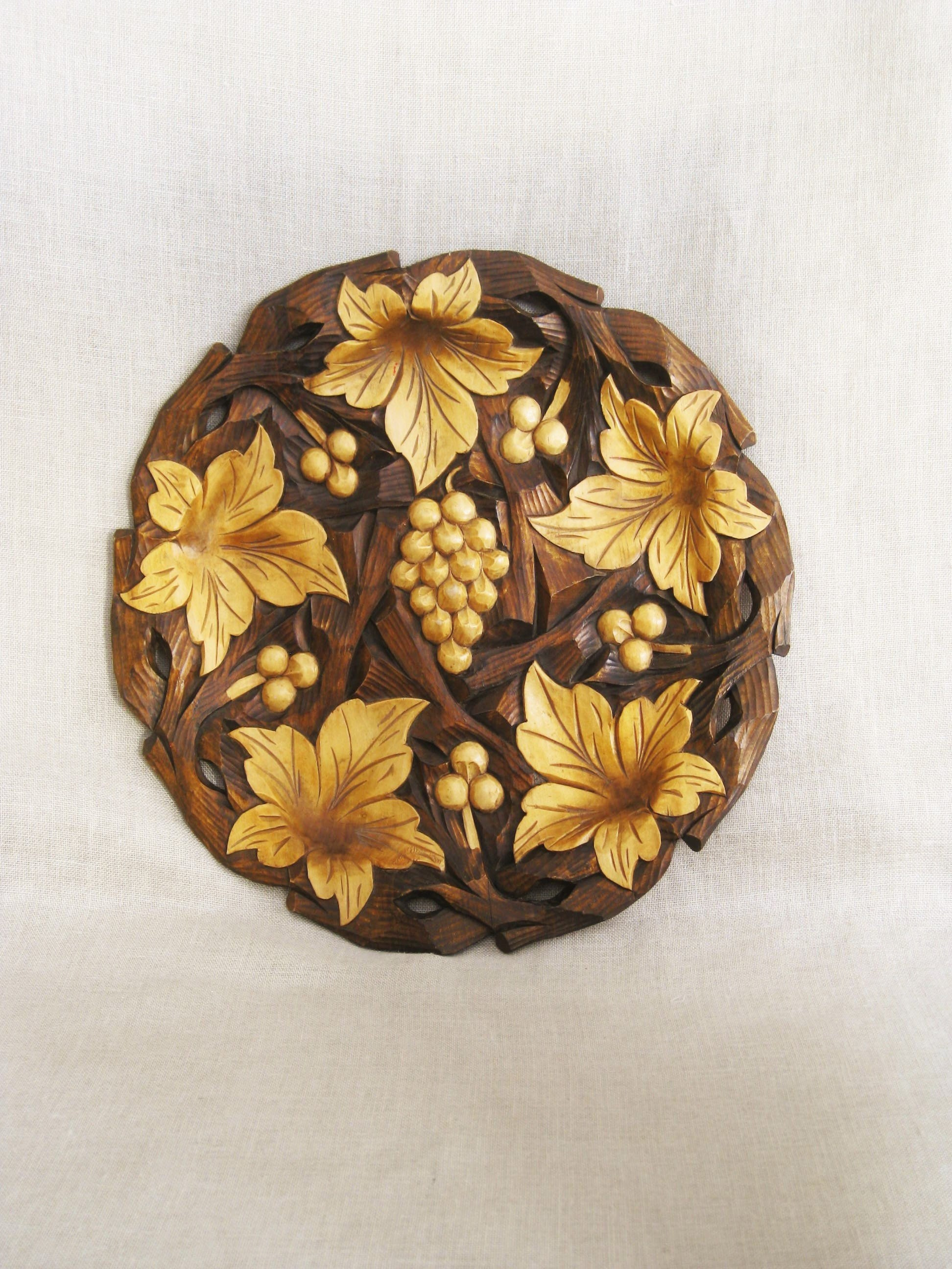 Beautiful wood carving of elephant family antique art handmade