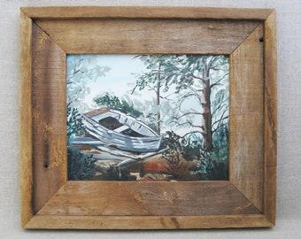 Vintage Boat Painting, Woodland Art, Framed Original Fine Art, Rustic Cabin Decor