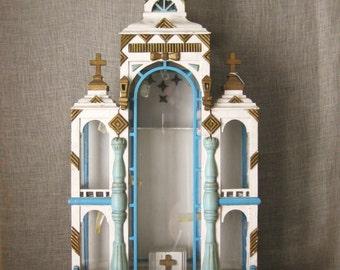 Antique Religious Folk Art Shrine, Late 19th Century, Architecture, European Folk Art, Altar, Display Case