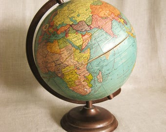 Vintage School Globe, Small, Crams World Map, 10 Inch, Typography, Sphere, Planet Earth, Geography, Educational, Metal Base, Mid-Century