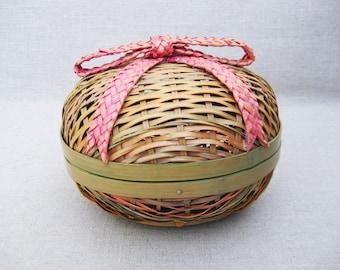 Vintage Egg Basket, Easter Decor, Storage and Organization