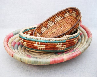Vintage Coil Basket, Tribal Style, Serving, Collection