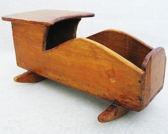 Vintage Doll Cradle, Primitive Folk Art Toys, Dated 1927, Tramp Art