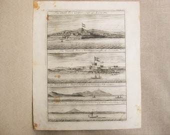 Antique Engraving Johannes Kip, Forts of West Africa, Ghana, 1744, 18th Century Prints