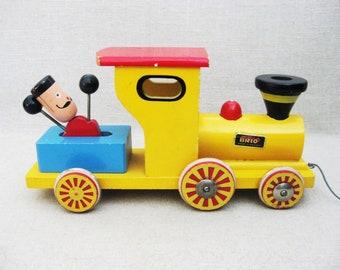 Vintage Train Pull Toy, Wood, Brio Sweden, Musical