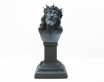 Vintage Jesus Bust, Glass Eyes Male Portrait, Home Altar Religious Decor