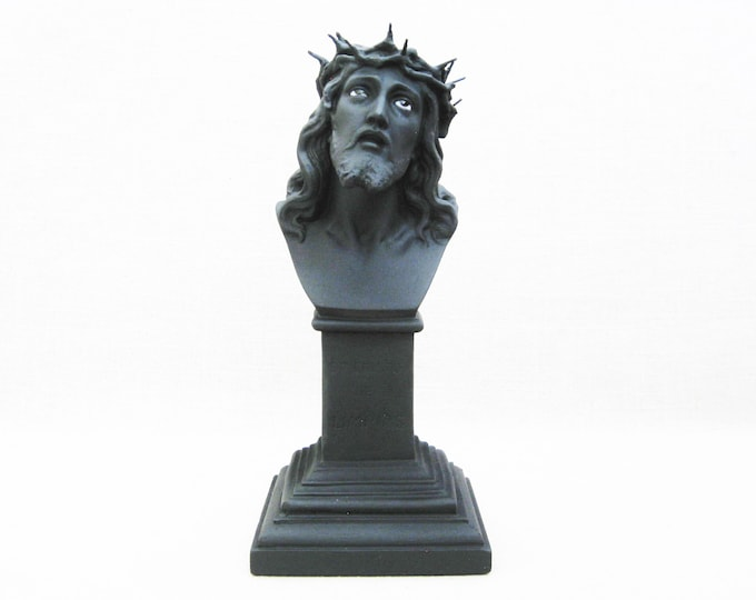 Featured listing image: Vintage Jesus Bust, Glass Eyes Male Portrait, Home Altar Religious Decor