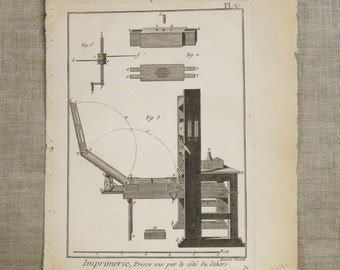 Antique Bookplate, Tools Engraving, Book Plate, Bernard Direxit, 1700s, 18th Century, Paper Ephemera, Vannier, Outils