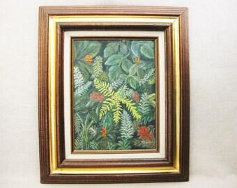 Vintage Botanical Plant Painting, Framed Original Fine Art