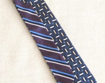 Vintage Silk Tie, Mens Stripes, Nordstrom, Hand Embroidered, Blue, Purple, Upcycled, Preppy