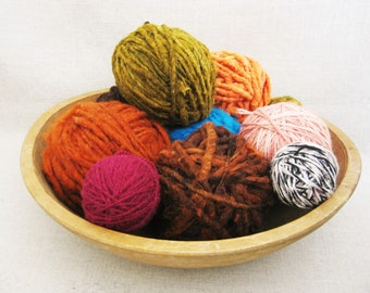 Weaving Yarn, Exotic Organic Wool, Art and Craft Supplies, Assorted Mix