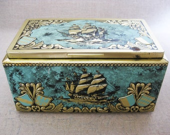 Vintage Metal Cigar Box, Nautical Decor, Wood Lined Biscuit Tin