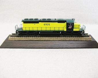 Vintage Toy Train, Sculpture, Paperweight, Desk Top Locomotive, Mounted Train Car, Northwestern Line