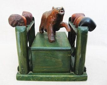 Vintage Pipe Rack, Folk Art Bear Carving, Prison Art, Maine