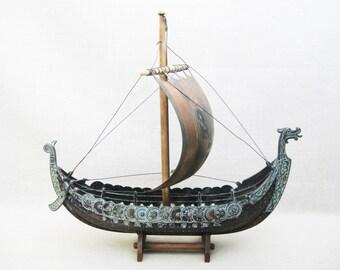 Vintage Viking Ship Sculpture, Edward Aagaard Copenhagen Danish Iron Metal Art