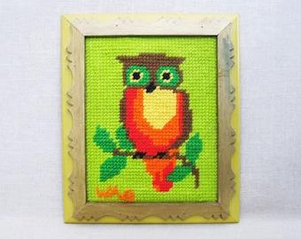 Vintage Owl Needlepoint, Bird Embroidery, Framed Wall Decor